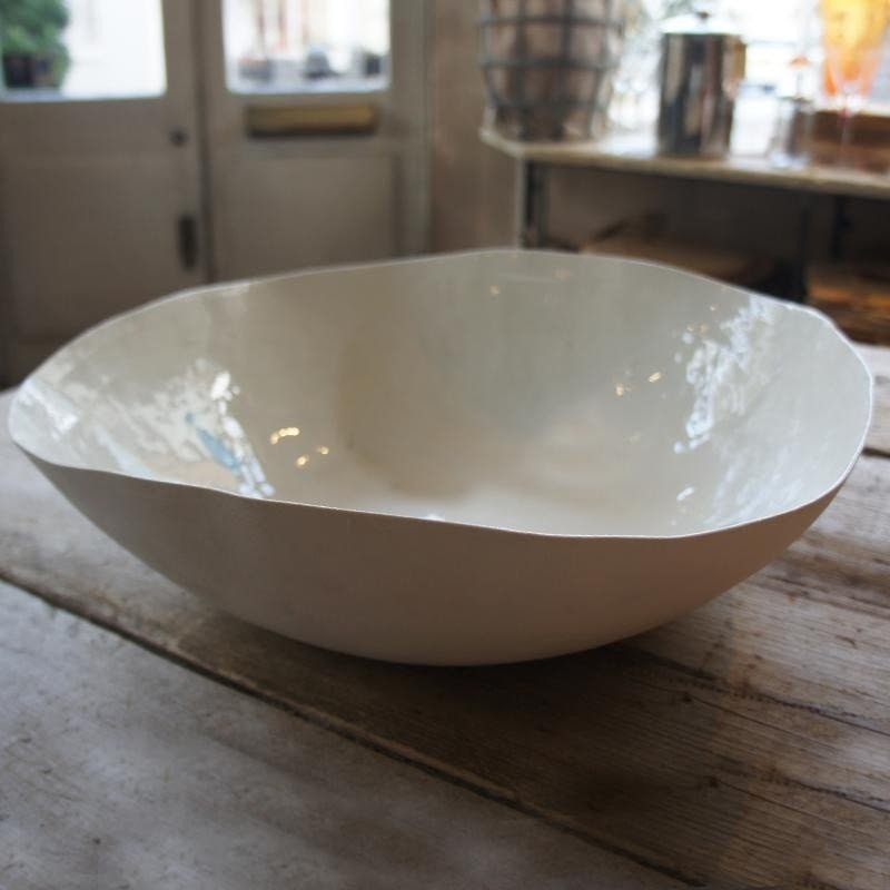 Size : M Pure White Household Round Ceramic Fruit Plate