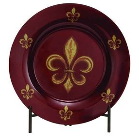 Fleur De Lis Decorative Round Glass Accent Plate with Metal Stand, 19-inch, Red Gold