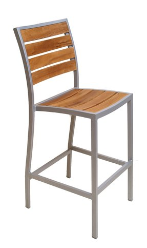 Florida seating commercial aluminum teak outdoor restaurant bar stool
