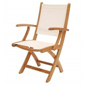 Hampton teak and weather proof fabric folding armchair