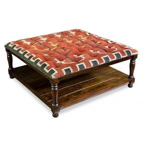 Kilim Upholstered Ottoman Coffee Table 5