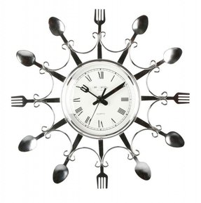 Kitchen Clocks Novelty Design Chrome Colour Fork Spoon Wall