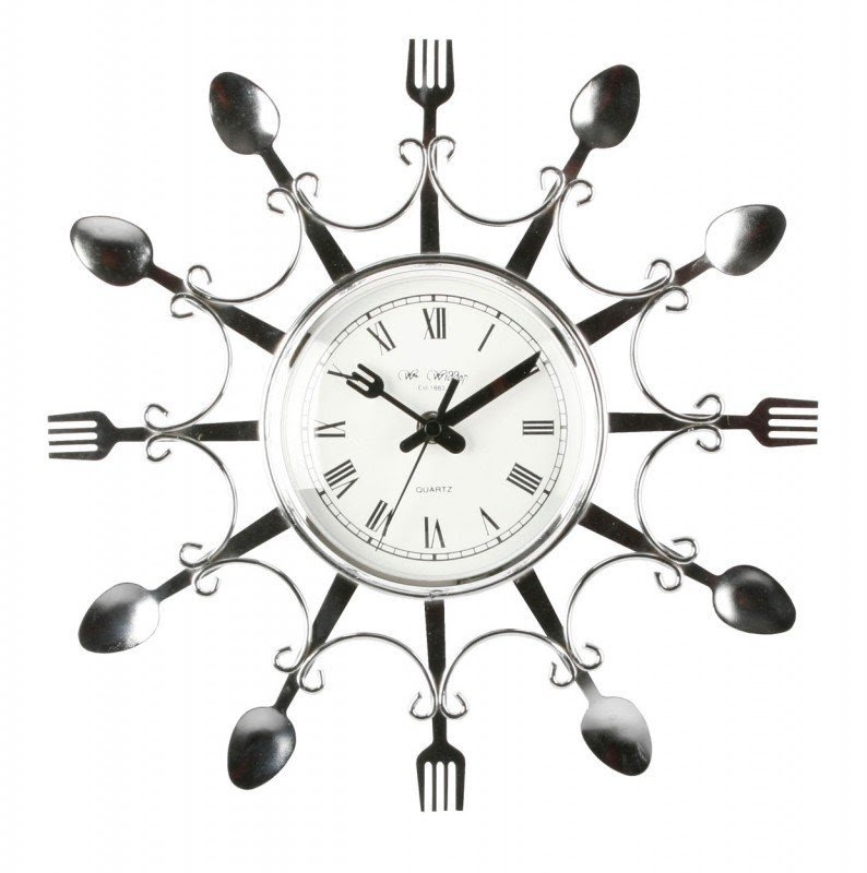 Exceptionnel Kitchen Clocks Novelty Design Chrome Colour Fork Spoon Kitchen Wall