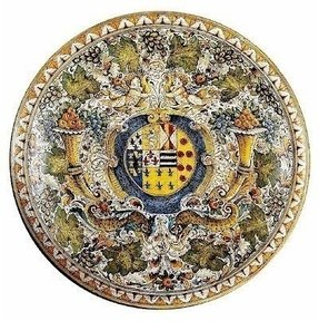 MAJOLICA: Extra large wall plate ''CORNUCOPIA:'' design with crest (28D.) [#PT/08/927/70]