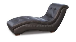 Metro black leather chaise lounge by z mod dc