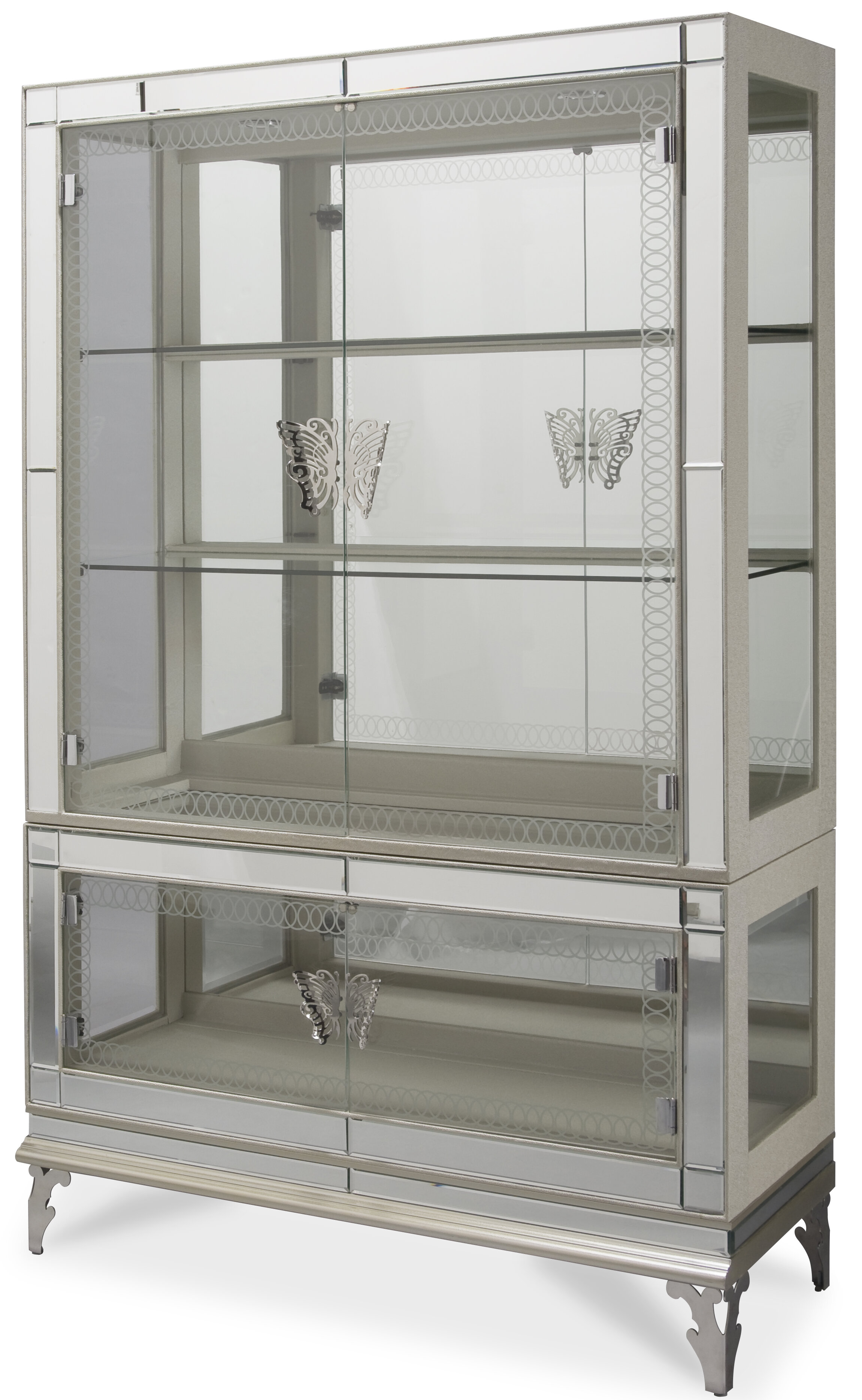 Modern pearl silver curio cabinet with glass door base