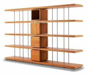 Modular bookcase contemporary walnut stainless steel piano