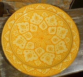 Moroccan large plate hand painted yellow