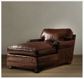 Photo 4 a dark brown leather chaise lounge chair with