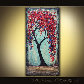Red tree original acrylic painting on
