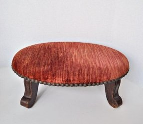 Small antique footstools antique small oval footstool coral crushed