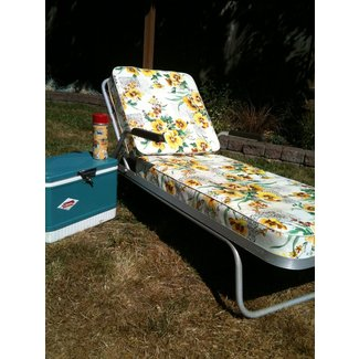 Sold 60s vintage aluminum chaise lounge w cushions 100