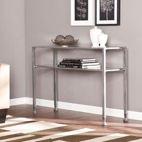 Southern Enterprises Melvin Metal/Glass Console/Sofa Table, Silver