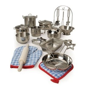 Stainless steel play kitchen set