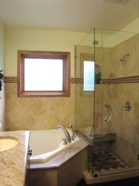 MsMadisonWalke. 78. corner tub glass shower.