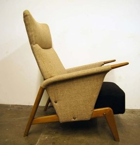 Two tone high back armchair by arne hovmand olsen for