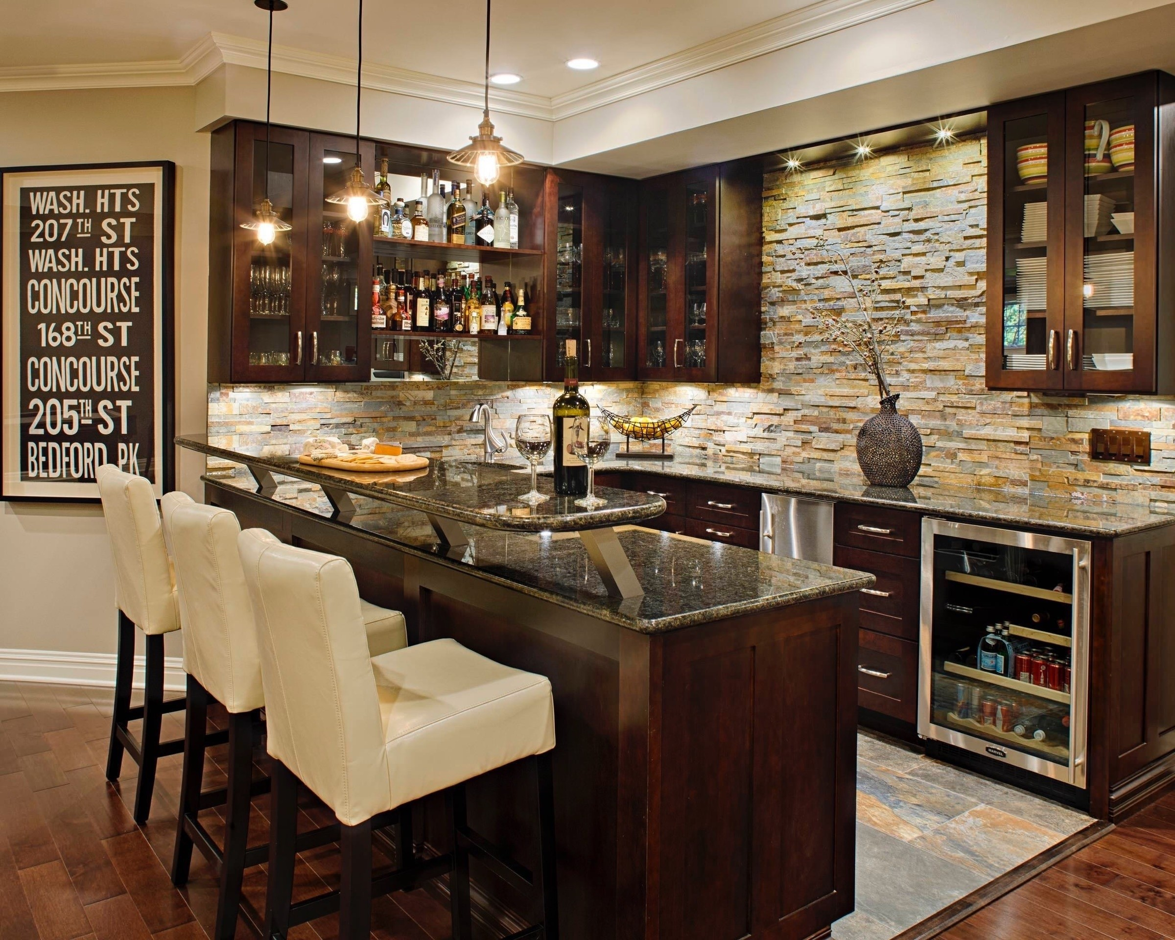 Amazing Wet Bar With Sink And Refrigerator