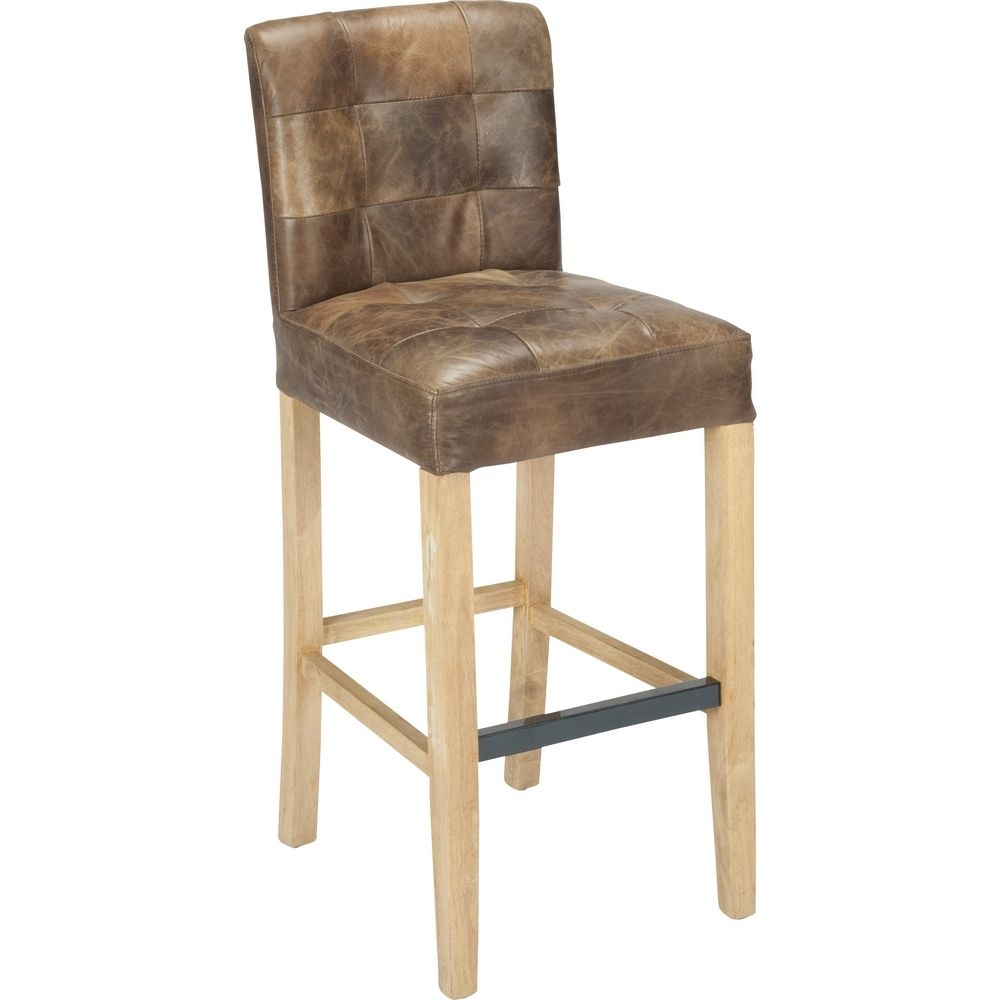 Gentil Whitby Bar Stool W Distressed Light Brown Top Grain Leather