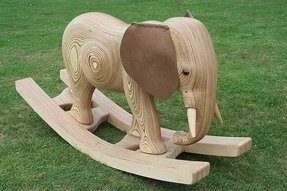 Wooden elephant rocking horse 1