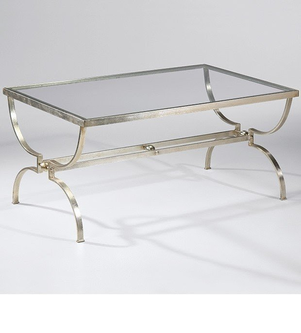 Bon Wrought Iron Coffee Table With Lightly Antiqued Silver Leaf Finish