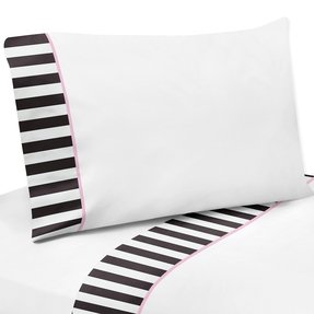 4 Piece Queen Sheet Set for Pink, Black and White Stripe Paris Bedding Collection