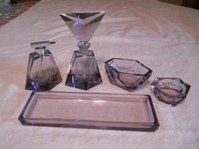 5 pc dresser set amethyst glass art deco perfume bottles