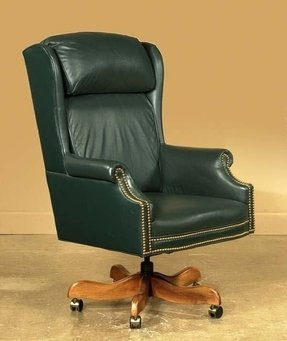 690 green leather swivel desk chair with pillow back