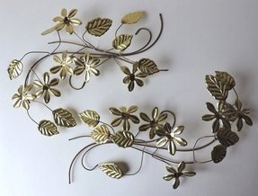 A Pair Of Gold Fl Flower And Leaf Metal Wall
