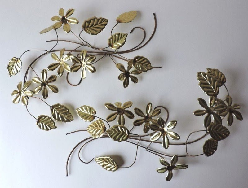 A Pair Of Gold Floral Flower And Leaf Metal Wall