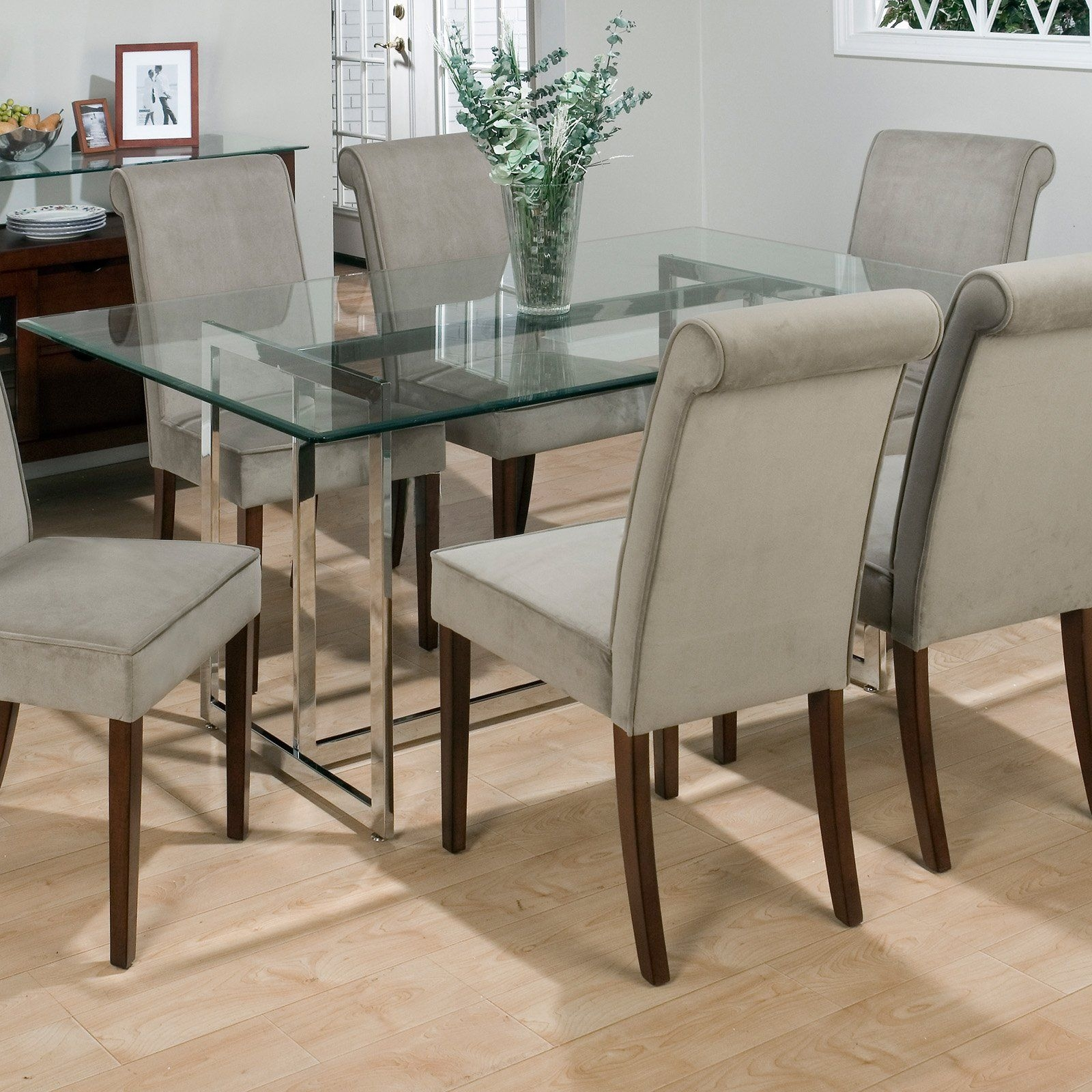 Bethel Rectanglar Glass Top Dining Table Contemporary Dining Tables