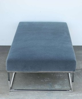 Blue grey mohair chrome ottoman or bench image 6