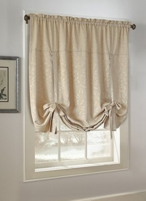 Curtains with ribbon ties
