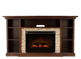 Electric fireplace with bookshelves foter for Engineered fireplace