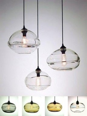 Glass kitchen pendant lights 2