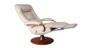 Modern leather recliner with ottoman