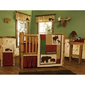 Northwoods baby bedding crib set 4pc rustic cabin country bear