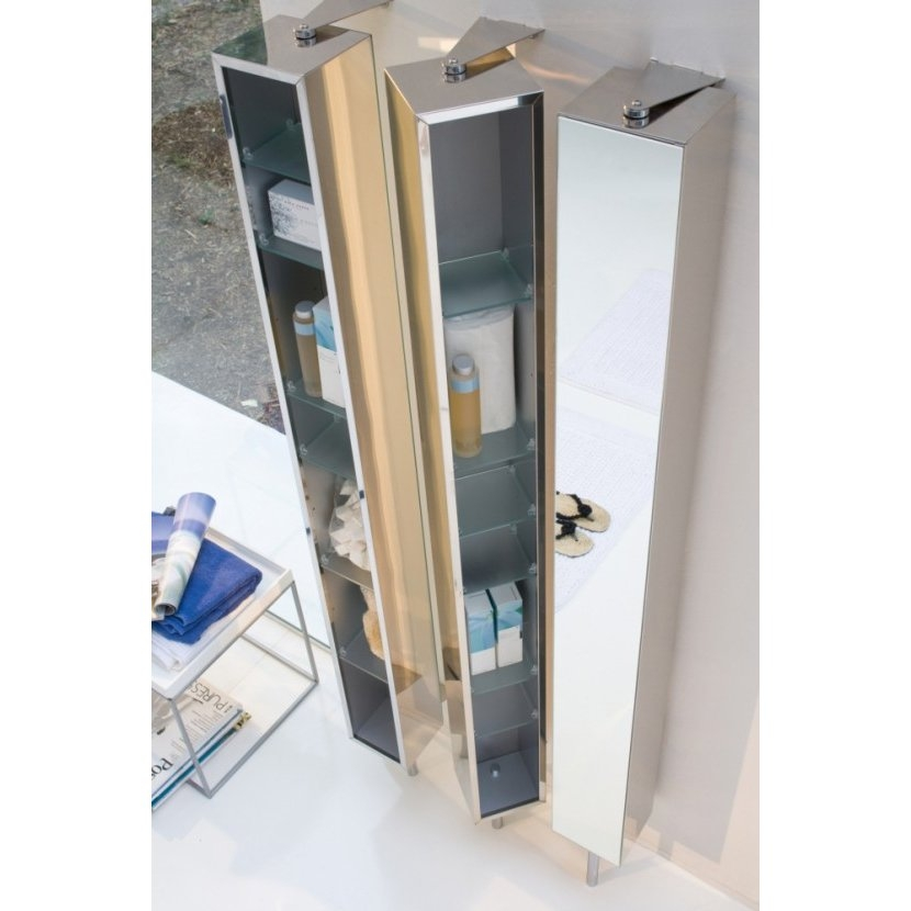 Pika Bathroom Storage Rotating Cabinet W Mirrored Door