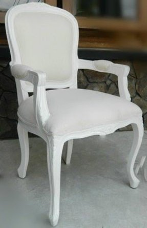 Queen lxv carver armchair white with cream upholstery