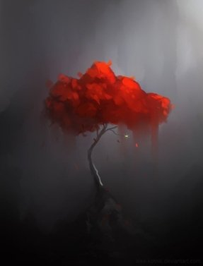 Red trees painting 1