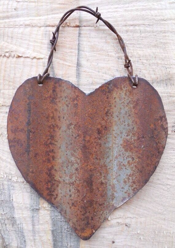 Rustic metal heart for valentines day