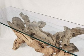 Sculptural console table driftwood glass top