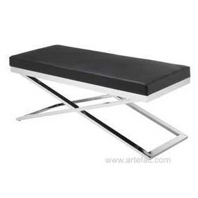 Sr 85866 Chrome Frame Black Leather Bench Code
