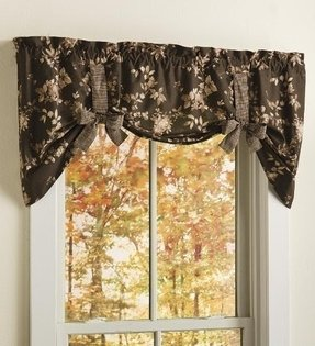 Tie-Up Floral Cotton Window Valance with Contrasting Ties, in Chestnut Berry