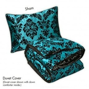 Tiffany blue and black bedding