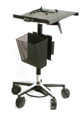 Vision laptop computer cart with basket on wheels includes 4