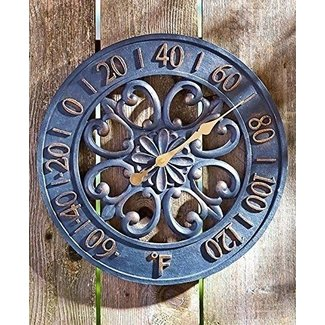 "14-3/4"" Dia. Black & Bronze Scrollwork Outdoor Thermometer Cold Cast Ceramic Wall Hanging Outside Patio Porch Wall Decor"