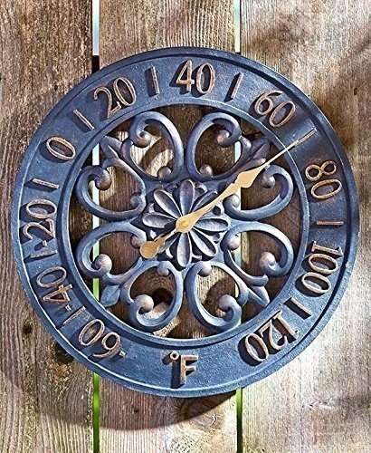 Marvelous Black U0026 Bronze Scrollwork Outdoor Thermometer Cold Cast