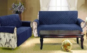 2 Piece Set Navy Blue Quilted Micro Suede Pet Dog Sofa Loveseat Furniture Slipcover Protector Throw