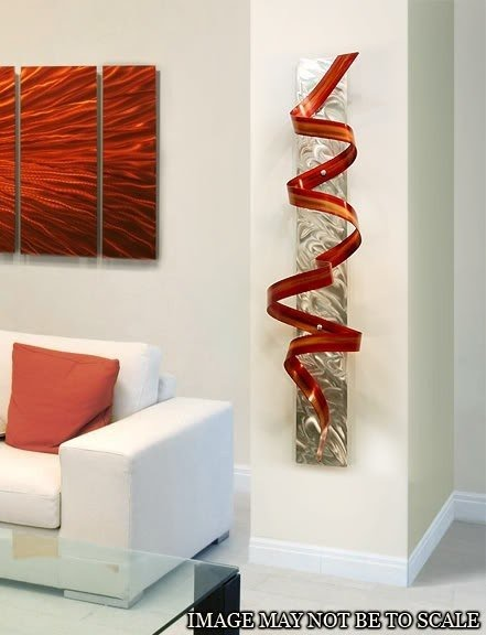 Abstract Metal Wall Art Sculpture Red