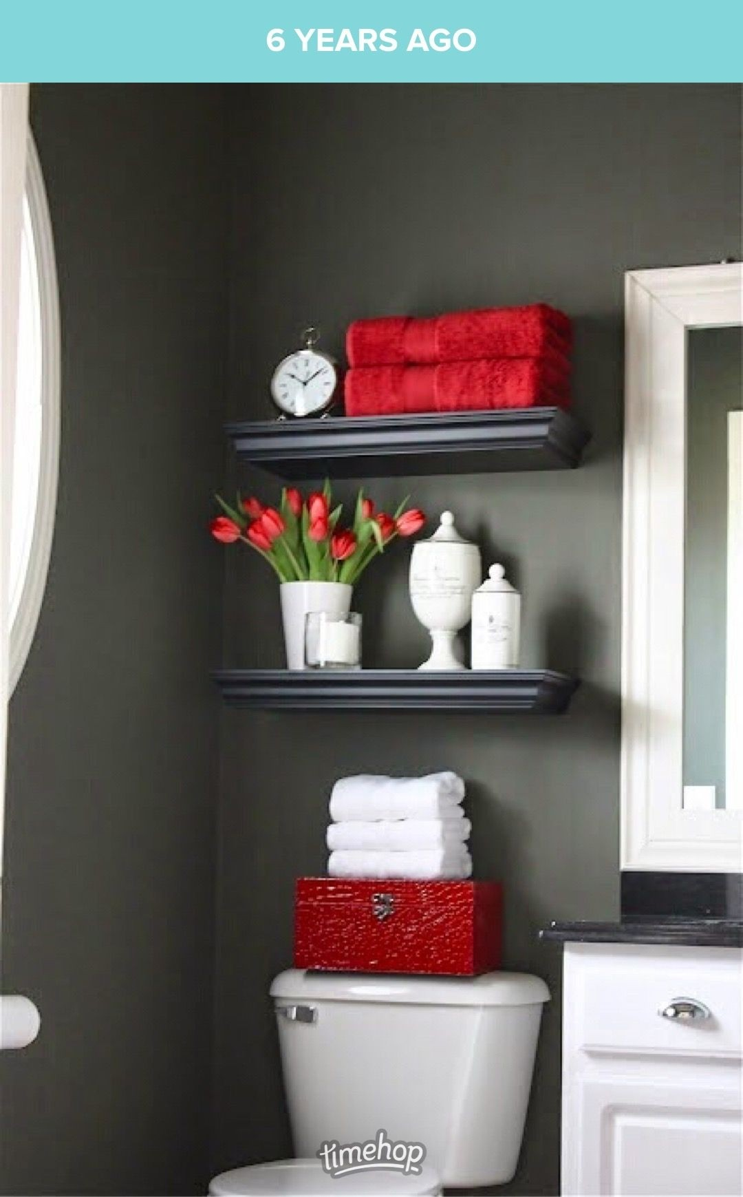 floating shelf in bathroom